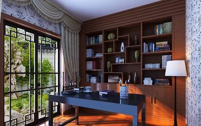 中式多功能书房装修效果图,书房多功能室装修效果图