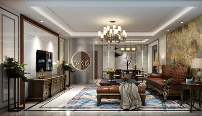 欧式装修效果图深色家具,深色家具地板装修效果图