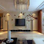 客厅中式背景墙大户型装修
