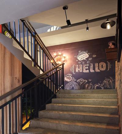 火锅店楼梯设计效果图,火锅店楼梯墙面设计效果图