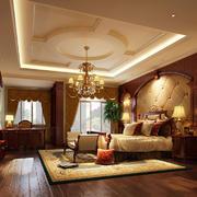 卧室中式背景墙别墅装修