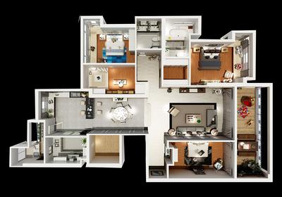 三室一厅装修效果图,三室一厅户型图