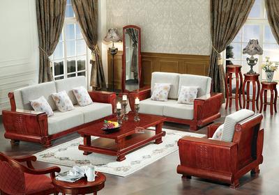 红色实木家具客厅效果图,中式客厅实木家具效果图