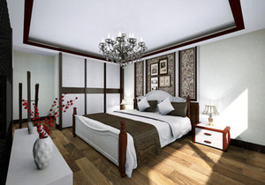 新中式卧室装修风格效果图,新中式风格卧室手绘效果图