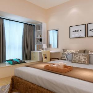 现代中式卧室飘窗装修效果图欣赏,新中式现代风格卧室装修效果图