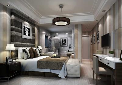 深色家具卧室装修效果图大全,深色家具简约装修效果图