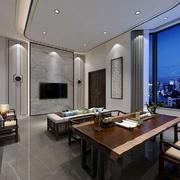 客厅中式电视墙大户型装修