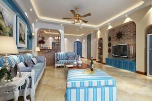 现代地中海客厅装修效果图欣赏,地中海客厅瓷砖装修效果图欣赏