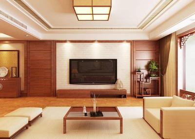 新中式会所电视背景效果图,会所新中式装修形象墙效果图