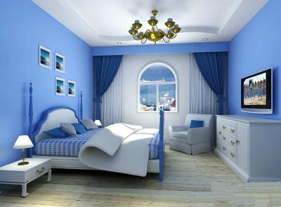 歐式臥室客廳壁紙裝修效果圖,臥室藍色歐式壁紙裝修效果圖大全