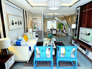 新中式连同客餐厅效果图,新中式加现代客餐厅效果图