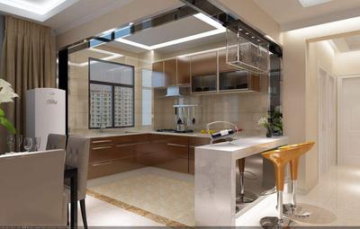 70平米厨房客厅一体装修图,正方形客厅餐厅厨房一体装修图