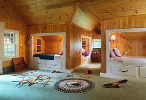 可隔开兄妹双人儿童房,简约美式风格双人儿童房装修效果图