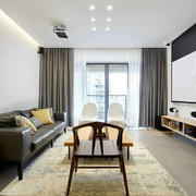 客厅现代背景墙80平米装修