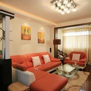 客厅现代沙发80平米装修