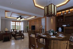 50平米中式客餐厅一体效果图,客餐厅一体中式装修效果图