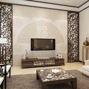 客厅中式电视墙90平米装修