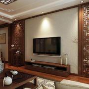 客厅中式电视墙100平米装修