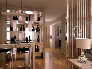 客厅酒柜带吧台隔断效果图,客厅与餐厅酒柜带吧台隔断效果图