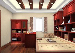 榻榻米新中式装修效果图,新中式榻榻米长方形小卧室装修效果图
