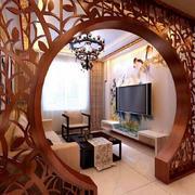 客厅中式门窗90平米装修