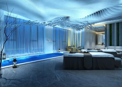 地中海蓝色美容院装修效果图,美容院房间装修效果图