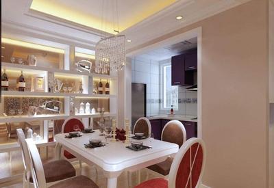 客厅厨房餐厅一体吊顶装修效果图,简欧客厅餐厅一体装修效果图