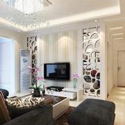 客厅现代背景墙90平米装修