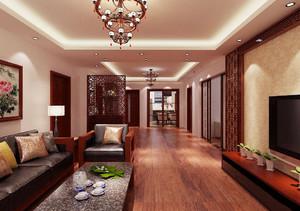 新中式客厅餐厅一体装修效果图,普通农村家庭客厅装修效果图