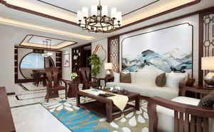 客厅装修风格实景图大全,家庭客厅新中式装修效果图