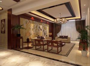 中空客厅不装吊灯效果图,现代中式家装客厅效果图
