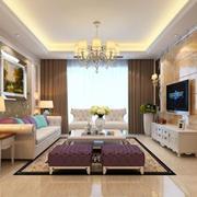 客厅简欧家具100平米装修