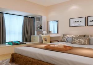 大飘窗榻榻米卧室装修效果图,带半圆飘窗的卧室装修效果图