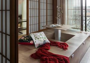 阳台放日本榻榻米装修效果图,阳台榻榻米大佛手衣柜装修效果图