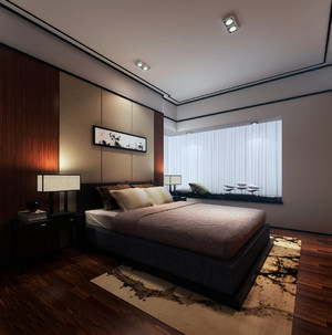 主卧飘窗榻榻米床装修效果图,新中式卧室带榻榻米装修效果图欣赏
