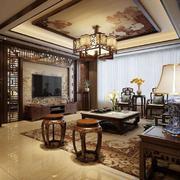 客厅中式窗帘大户型装修