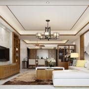 客厅中式吊顶大户型装修