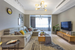 沙发茶几和电视柜颜色的搭配效果图