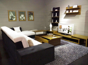 布艺沙发配茶几电视柜效果图