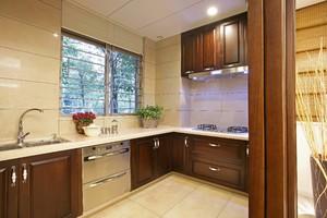 中式l型廚房櫥柜設計圖