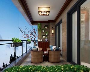 新中式别墅阳台装修效果图大全