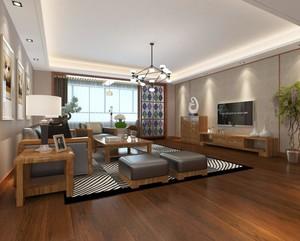 北欧实木现代风格客厅装修效果图