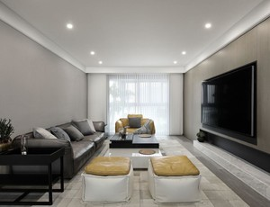 现代简约风格长客厅装修效果图