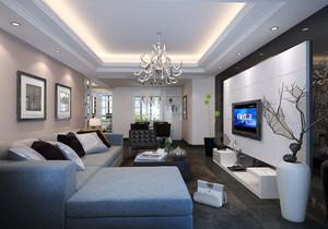 现代简欧风格客厅电视背景墙装修效果
