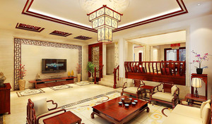新中式別墅客廳吊頂裝修效果圖