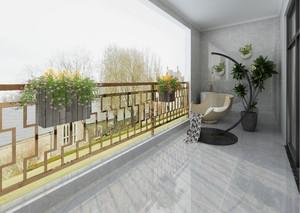 客廳陽臺瓷磚效果圖