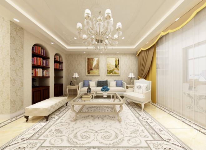 客廳白色瓷磚效果圖