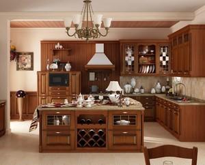 别墅现代美式风格厨房岛台效果图