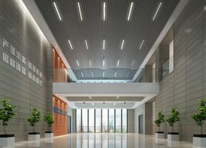 500平现代工业风格办公楼大厅装修效果图