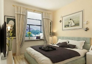 100平现代轻奢风格米黄色房间效果图